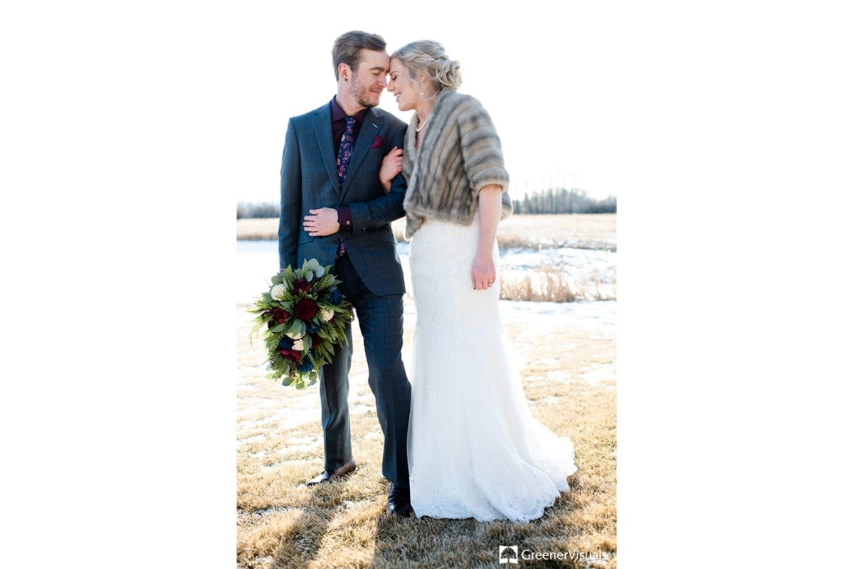 Bride Groom Embrace Gallatin River Lodge Winter Wedding