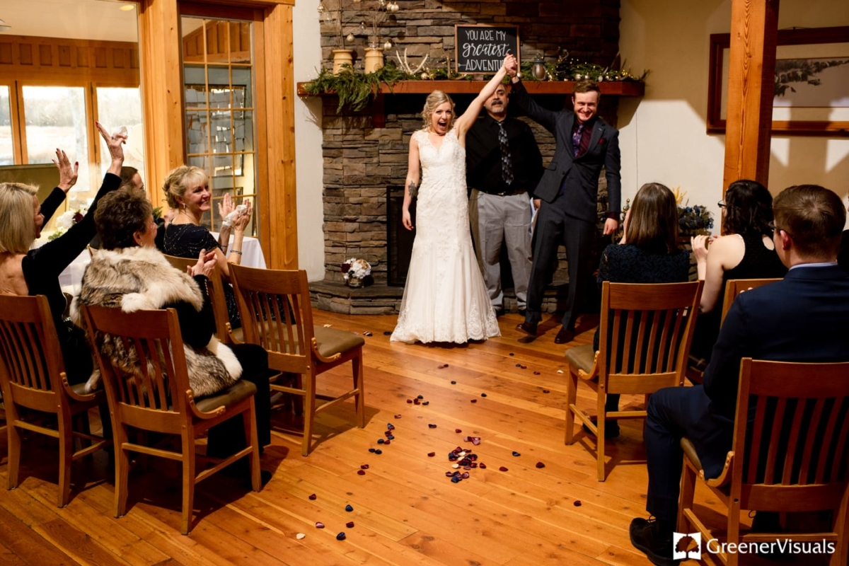 Indoor Winter Wedding Ceremony Gallatin River Lodge