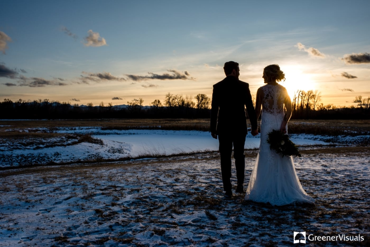 Sunset Bride Groom Gallatin River Lodge Winter Wedding