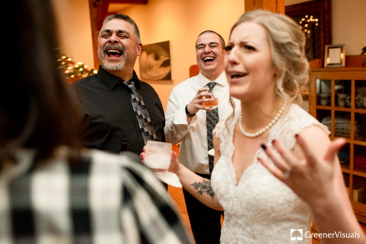Reception Laughs Gallatin River Lodge Winter Wedding