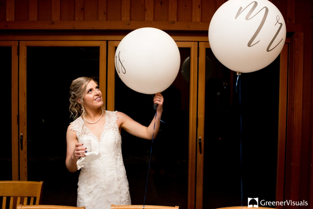 Bride Wedding Balloons Gallatin River Lodge Winter Wedding