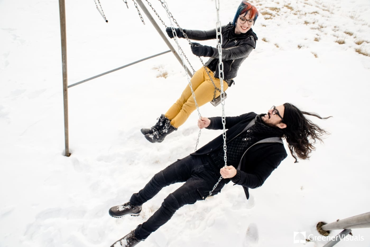 Swingset Winter Engagement Portrait Photography